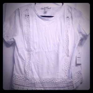 Short-sleeved lace-trimmed peasant blouse